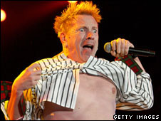 Sex Pistols singer John Lydon at the Isle of Wight Festival